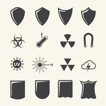 house coats: Shield and protection icons set on texture background  Vector