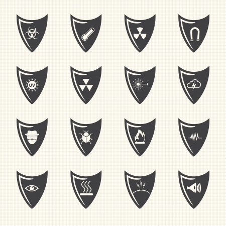 guard house: Shield and protection icons set on texture background  Vector