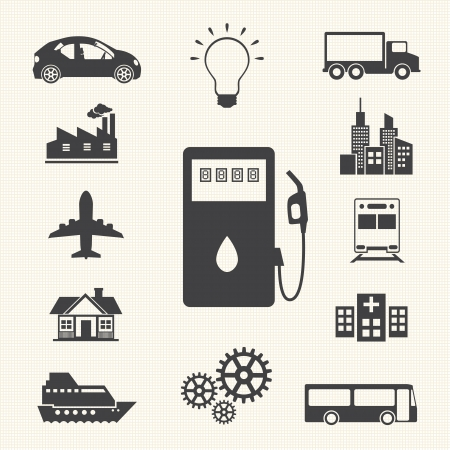 fuel pump: fuel and energy icons set
