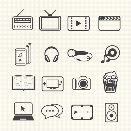 audio video: Entertainment icons set on texture background  Illustration