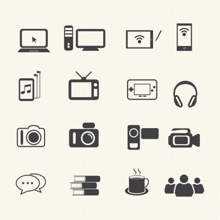Entertainment icons set on texture background  Иллюстрация