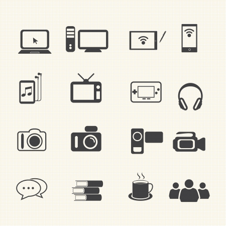 Entertainment icons set on texture background  Illustration