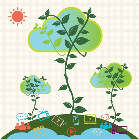 Green cloud  Cloud computing concept  Vector Vector