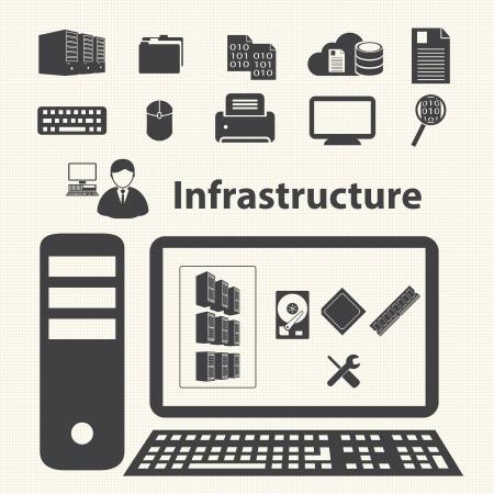 Systeem infrastructuur en virtualisatie management control Cloud computing concept Stock Illustratie