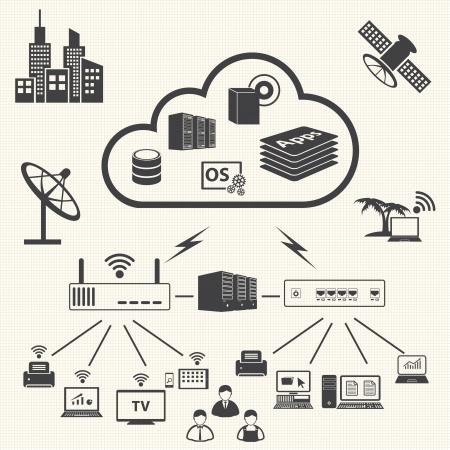 クラウド ・ コンピューティングとデータ管理アイコンのベクトルを設定