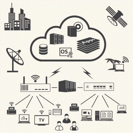 Cloud computing and Data management icons set  Vector Vector