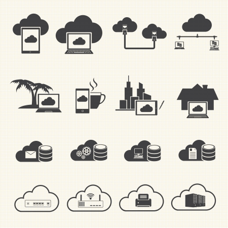 data management: Cloud computing and Data management icons set  Vector