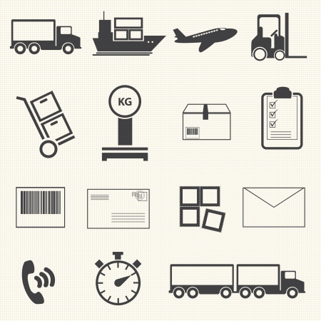 Logistic and shipping icon set on texture Illustration