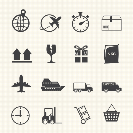 Logistic and shipping icon set on texture background