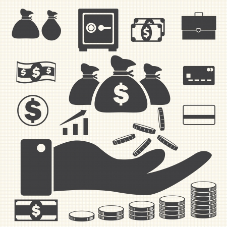 Finance and business icons set on texture background