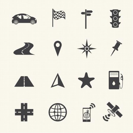 satellite navigation: Iconos de navegaci�n establecidos en la textura de fondo Vectores