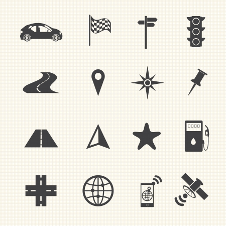 road: Navigation icons set on texture background