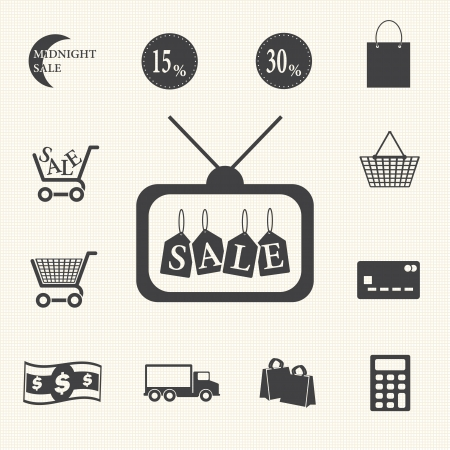 Shopping sale icons set on texture background  Vector