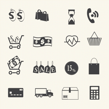 Shopping icons set on texture background Vector