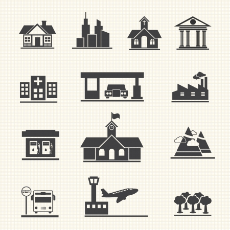 office building exterior: Icons set of places