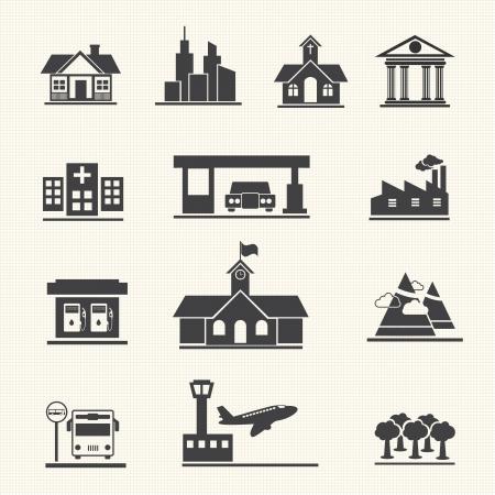 bedrijfshal: Icons set van plaatsen
