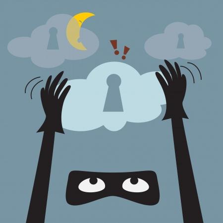 data theft: Data theft protection  Secure Cloud Computing  Cartoon vector  Illustration