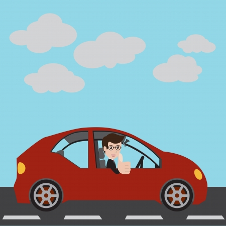 Businessman in a red car and thumbs up  Vector illustration Illustration