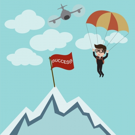 parachuting: Businessman parachuting to success, vector Illustration