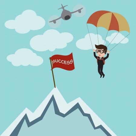 Zakenman parachutespringen tot succes, vector Stock Illustratie