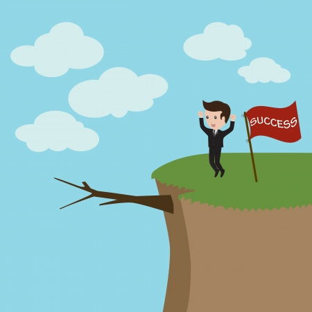 hill top: Businessman standing on the high mountain  Businessman and solution  Vector