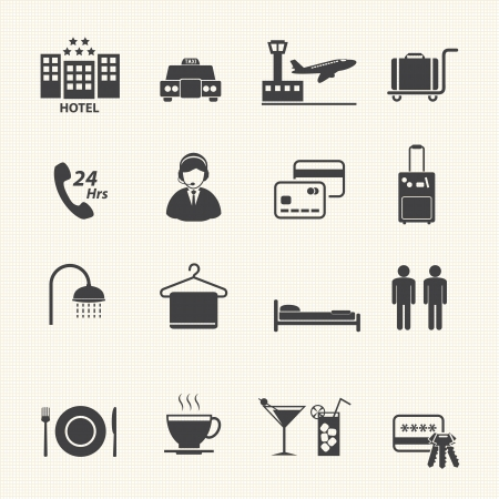 pool hall: Hotel Services Icons set on texture background  Vector Illustration