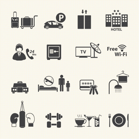 hotel hall: Hotel Services Icons set on texture background  Vector Illustration