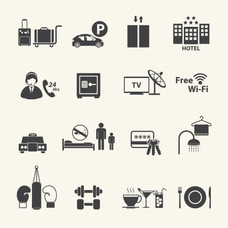 agencia de viajes: Servicios del hotel Iconos de serie en la textura de fondo Vector