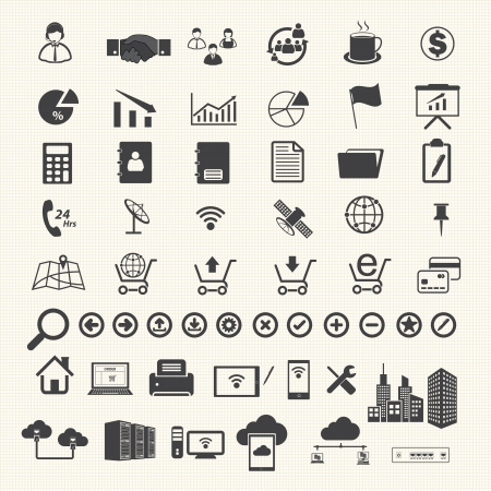 toolbar: Business Finance and Information technology icons on texture background