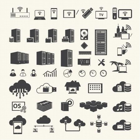 infraestructura: Inal�mbricas y Cloud Computing iconos en el fondo de textura Vectores