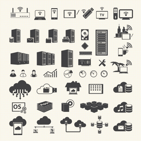 data center: Wireless and Cloud Computing icons on texture background