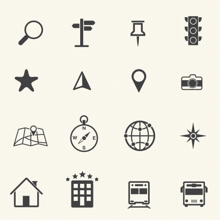 Map icons set, vector Vector