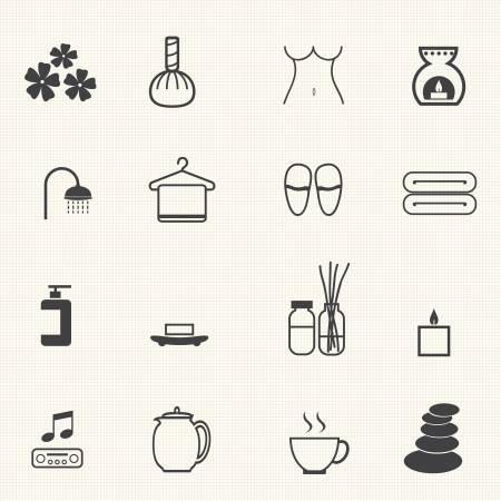 Spa massage icons set Vector