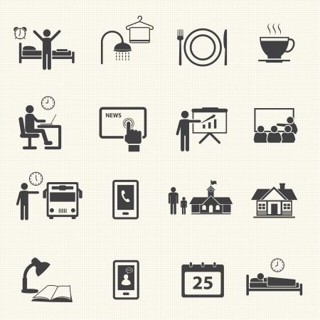daily routine: Hombre diarias Iconos de rutina