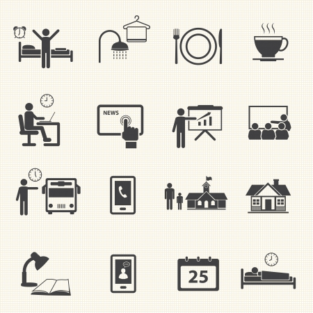 Man Daily Routine Icons Иллюстрация