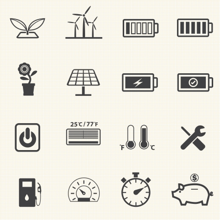 Ecology and Power saving icons with texture background Vector
