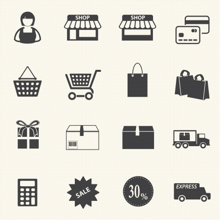Shopping mall and delivery icons set on texture background Vector