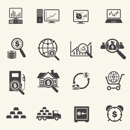 gold bars: Business and Finance Icons with texture background