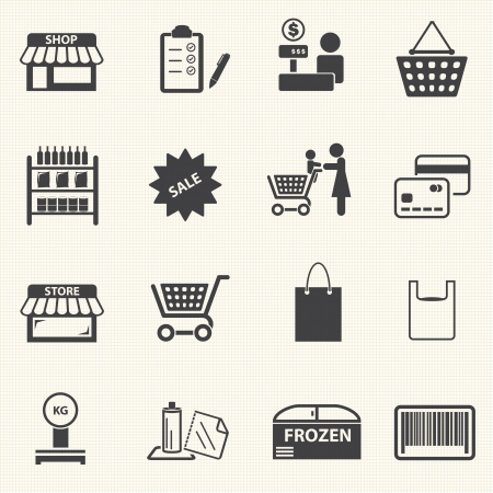 Mom shopping icons set on texture background  Vector Vector