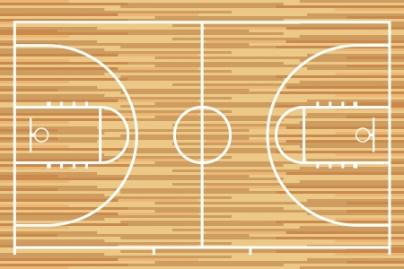 Basketball court with parquet wood board  Vector Vector
