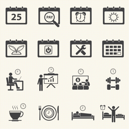 breakfast in bed: Business Time and Calendar icons set with texture background