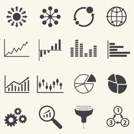 テクスチャの背景を持つビジネス インフォ グラフィックのアイコン