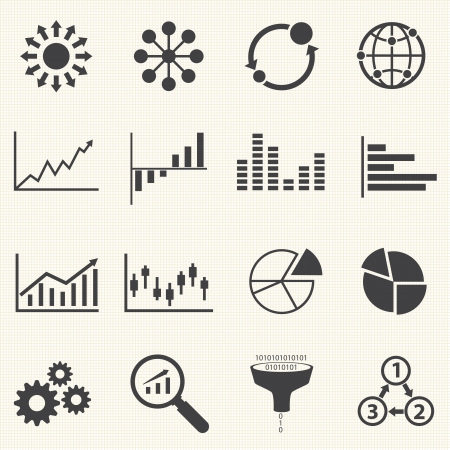 Business Infographic icons with texture background