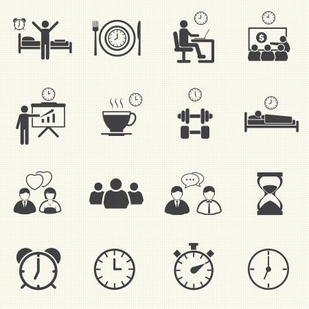 daily routine: Hombre Personas rutina diaria iconos conjunto con textura de fondo
