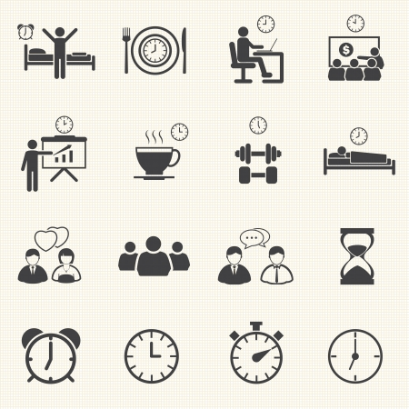 breakfast in bed: Man Daily Routine People icons set with texture background