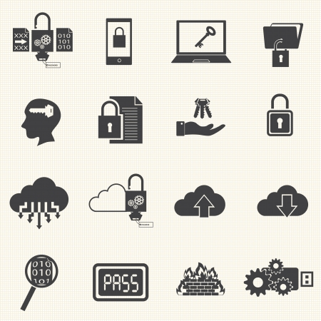 data theft: Data and computer security icon set with texture background
