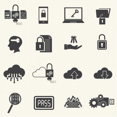 Gegevens en computerbeveiliging icon set met textuur achtergrond