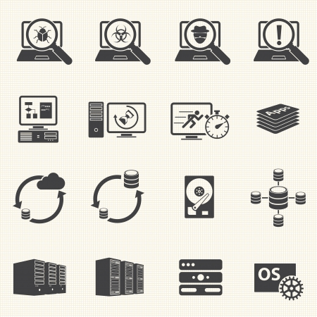 software development: Programmer software development and Database management icons