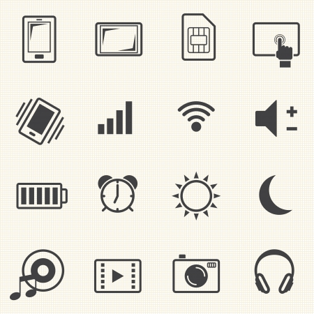 Icons set for mobile phone on texture background  Vector Vector