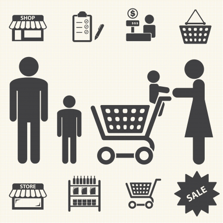 Shopping mall and delivery icons set on texture background Stock Vector - 23863109